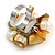 Antique Yellow Sea Shell Nugget and Cream Faux Freshwater Pearl Cluster Silver Tone Ring - 7/8 Size - Adjustable - view 6