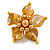 Antique Yellow Shell and Faux Pearl Flower Rings (Silver Tone) - 50mm Diameter - Size 7/8 Adjustable