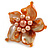 Orange Shell and Peach Faux Pearl Flower Rings (Silver Tone) - 50mm Diameter - Size 7/8 Adjustable