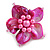 Fuchsia Shell and Pink Faux Pearl Flower Rings (Silver Tone) - 50mm Diameter - Size 7/8 Adjustable