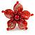 Red Shell and Faux Pearl Flower Rings (Silver Tone) - 50mm Diameter - Size 7/8 Adjustable