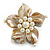 Antique White Shell and Cream Faux Pearl Flower Rings (Silver Tone) - 50mm Diameter - Size 7/8 Adjustable