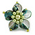 Green Shell and Light Green Faux Pearl Flower Rings (Silver Tone) - 50mm Diameter - Size 7/8 Adjustable