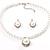 Silver Tone Glass Pearl Costume Jewellry Set - view 4