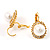 Classic Gold Tone Faux Pearl costume Set - view 5