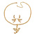 Gold Plated Clear Crystal Dragon Costume Jewellery Set - view 5