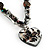 Black Glass Heart Fashion Necklace & Earrings - view 9