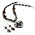 Black Glass Heart Fashion Necklace & Earrings - view 18