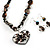 Black Glass Heart Fashion Necklace & Earrings - view 19