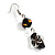 Black Glass Heart Fashion Necklace & Earrings - view 5