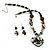 Black Glass Heart Fashion Necklace & Earrings - view 3