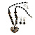 Black Glass Heart Fashion Necklace & Earrings - view 2