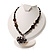 Black Glass Heart Fashion Necklace & Earrings - view 11