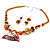 Fish Fin Glass Pendant & Earrings Set (Citrine & Amber Coloured) - view 3