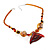 Fish Fin Glass Pendant & Earrings Set (Citrine & Amber Coloured) - view 17