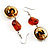 Fish Fin Glass Pendant & Earrings Set (Citrine & Amber Coloured) - view 6