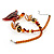 Fish Fin Glass Pendant & Earrings Set (Citrine & Amber Coloured) - view 9