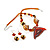 Fish Fin Glass Pendant & Earrings Set (Citrine & Amber Coloured) - view 10