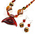 Fish Fin Glass Pendant & Earrings Set (Citrine & Amber Coloured) - view 11