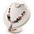 Romantic Pink Teardrop Pendant & Earrings Glass Fashion Set - view 3