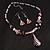 Romantic Pink Teardrop Pendant & Earrings Glass Fashion Set - view 4