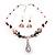 Romantic Pink Teardrop Pendant & Earrings Glass Fashion Set - view 9