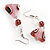 Romantic Pink Teardrop Pendant & Earrings Glass Fashion Set - view 14