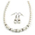 White Classic Simulated Glass Pearl Necklace & Drop Earring Set - view 2