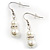 White Classic Simulated Glass Pearl Necklace & Drop Earring Set - view 12