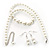 White Classic Simulated Glass Pearl Necklace & Drop Earring Set - view 5