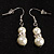 White Classic Simulated Glass Pearl Necklace & Drop Earring Set - view 8