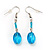 Blue Glass Bead Necklace And Drop Earrings Set - view 4