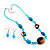 Blue Glass Bead Necklace And Drop Earrings Set - view 2