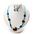 Blue Glass Bead Necklace And Drop Earrings Set - view 3