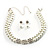 Imitation Pearl Crystal Floral Choker And Earring Set (Snow White&Clear) - view 2