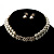 Imitation Pearl Crystal Floral Choker And Earring Set (Snow White&Clear) - view 4