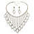 Divine Extravagance Swarovski Crystal Bib Necklace And Dangle Earring Set (Silver Tone) - view 4
