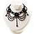 Black Gothic Costume Choker Necklace And Earring Set - view 8