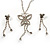 Clear Swarovski Crystal Butterfly Necklace And Earring Set (Silver Tone) - view 3