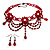 Hot Red Gothic Costume Choker Necklace And Earring Set - view 9