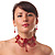 Hot Red Gothic Costume Choker Necklace And Earring Set - view 3