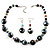 Black Glass & Semiprecious Bead Necklace & Earring Set - view 2
