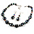 Black Glass & Semiprecious Bead Necklace & Earring Set - view 3