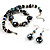 Black Glass & Semiprecious Bead Necklace & Earring Set - view 5