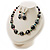Black Glass & Semiprecious Bead Necklace & Earring Set - view 9