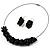 Black Nugget Cluster Choker And Drop Earrings Set (Black Tone) - view 2