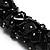 Black Nugget Cluster Choker And Drop Earrings Set (Black Tone) - view 3