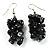 Black Nugget Cluster Choker And Drop Earrings Set (Black Tone) - view 4