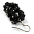 Black Nugget Cluster Choker And Drop Earrings Set (Black Tone) - view 5