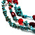 Multistrand Turquoise Stone Necklace And Drop Earrings Set (Silver Tone) - view 3